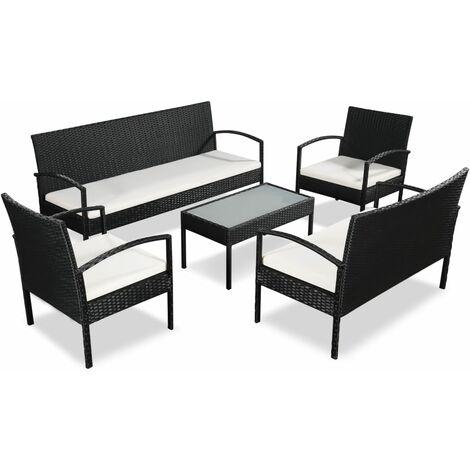 Set muebles de jardín 5 piezas y cojines ratán sintético negro