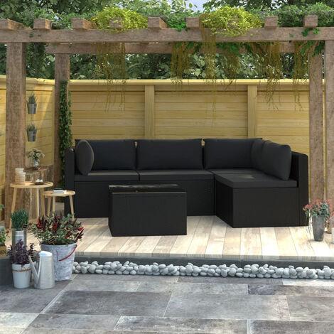 Set muebles de jardin 5 piezas y cojines ratan sintetico negro