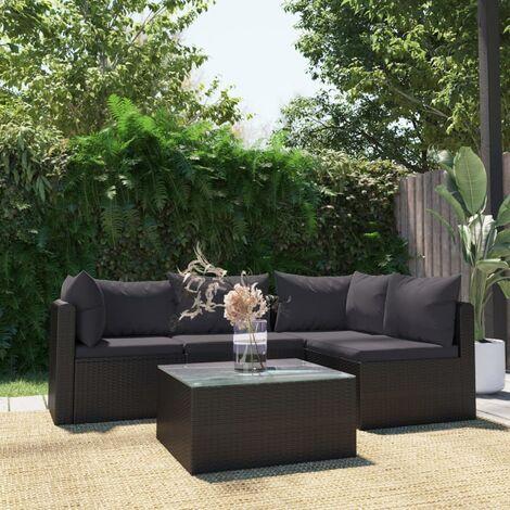 Set muebles de jardín 5 piezas y cojines ratán sintético negro - Negro
