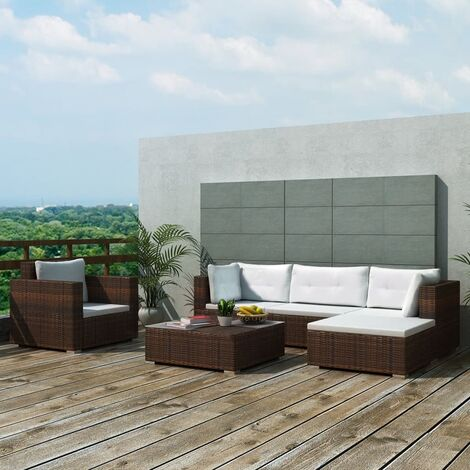 Set muebles de jardín 6 piezas y cojines ratán sintético marrón