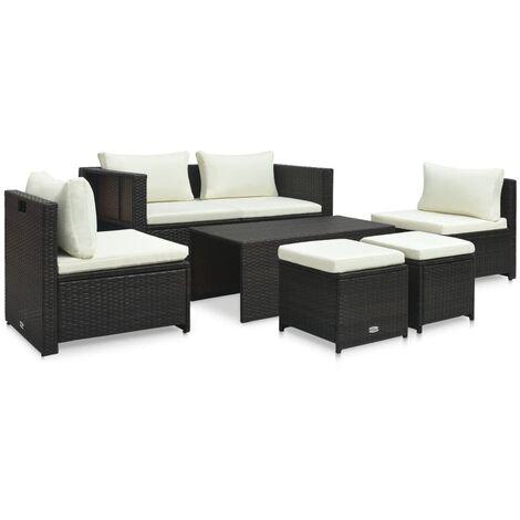 Set muebles de jardín 6 piezas y cojines ratán sintético marrón - Marrón