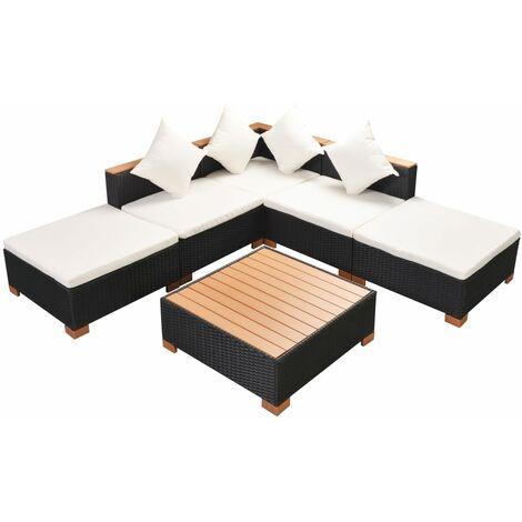 Set muebles de jardín 6 piezas y cojines ratán sintético negro