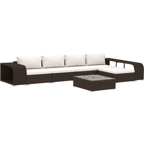 Set muebles de jardín 8 piezas y cojines ratán sintético marrón