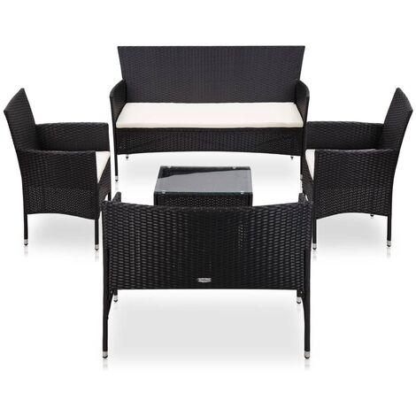 Set muebles de jardín y cojines 5 piezas ratán sintético negro