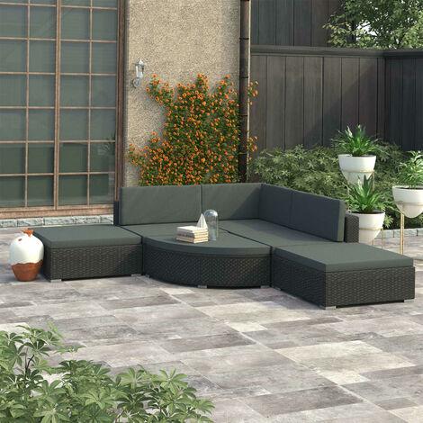 Set muebles de jardin y cojines 6 piezas ratan sintetico negro