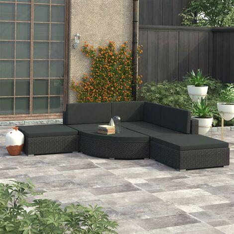 Set muebles de jardín y cojines 6 piezas ratán sintético negro - Negro