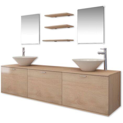 Set muebles para baño con lavabo y grifo 10 uds Beis