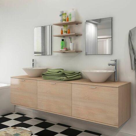 Set muebles para bano con lavabo y grifo 10 uds Beis
