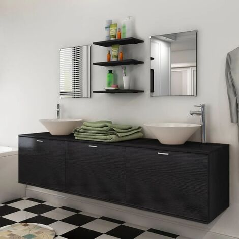 Set muebles para baño con lavabo y grifo 10 uds Negro