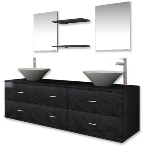 Set muebles para baño con lavabo y grifo 9 uds Negro