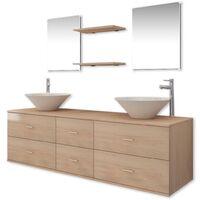 Set muebles para baño con lavabo y grifos 9 uds Beis