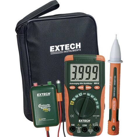 Set Multimètre numérique Extech MN16A-KIT CAT II 1000 V, CAT III 600 V 4000 Counts