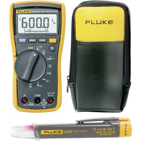 Set multimètre numérique Fluke 115 + détecteur de tension Fluke LVD2 + Sacoche Fluke C90 CAT III 600 V