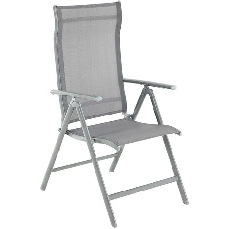 Folding Garden Chair, Outdoor Chair with Durable Aluminum Structure, 8-Angle Reclining Backrest, Max. Capacity 150 kg, Grey GCB02GY