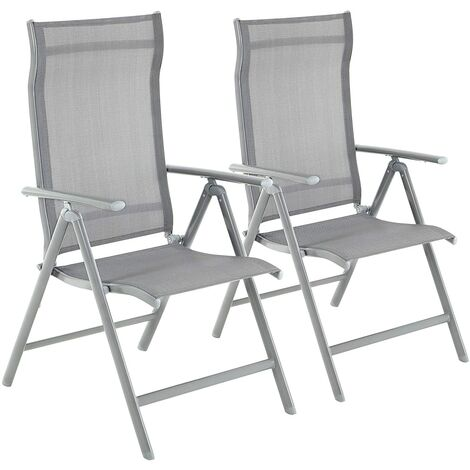 Set of 1/2/4 Folding Garden Chairs, Outdoor Chairs with Durable Aluminum Structure, 8-Angle Reclining Backrest, Max. Capacity 150 kg, Black/Grey
