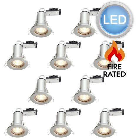 Set of 10, 20 or 30 Plated LED GU10 Fixed Fire Rated Downlights Including Bulbs
