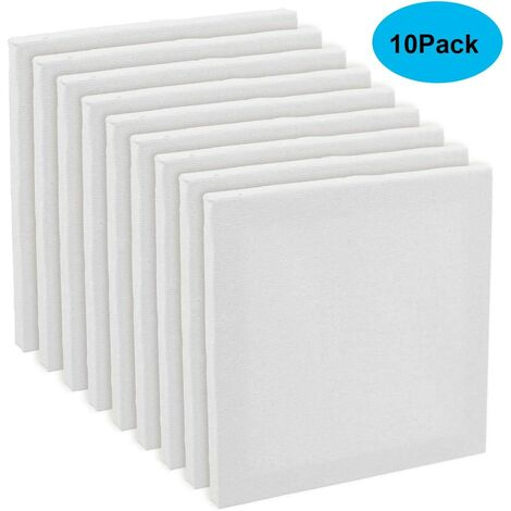 Set of 10 Artist Blank Canvas Frame Stretcher Acrylic Oil Water Painting Board 20x20cm - White