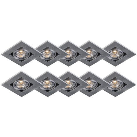 Set of 10 modern recessed spotlights aluminum 3 mm thick - Qure