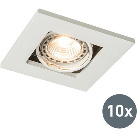 Set of 10 recessed spotlights white - Qure