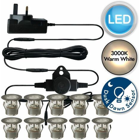Set of 10 - Stainless Steel IP67 LED Decking Kit with Dusk til Dawn Photocell Sensor