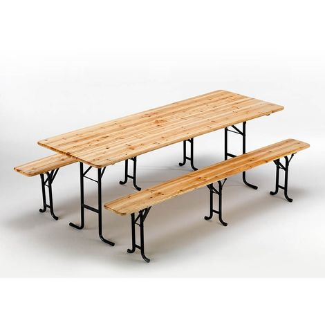 Set Of 10 Wooden Outdoor Table And 2 Three Legged Benches 220x80