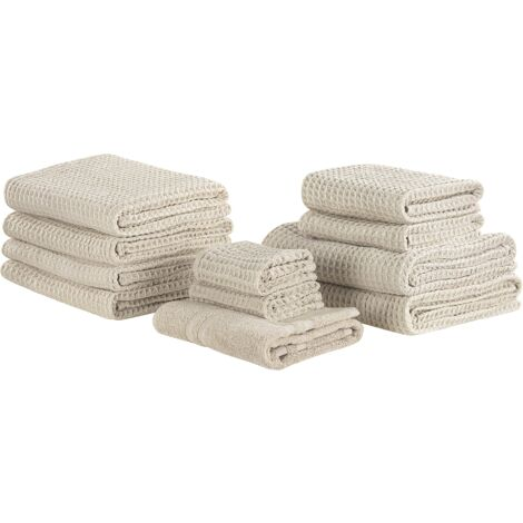 Set of 11 Cotton Towels Beige AREORA