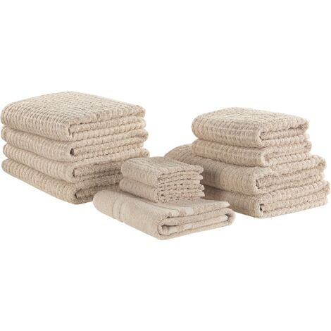 Set of 11 Cotton Towels Beige ATAI