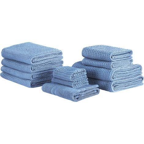 Set of 11 Cotton Towels Blue AREORA