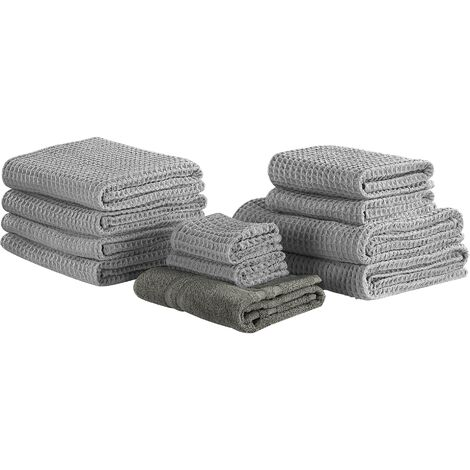 Set of 11 Cotton Towels Grey AREORA
