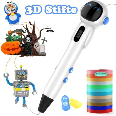 Set of 12 3D pens with LCD display and 3D pen compatible with PLA and ABS, Christmas gift for children and adults