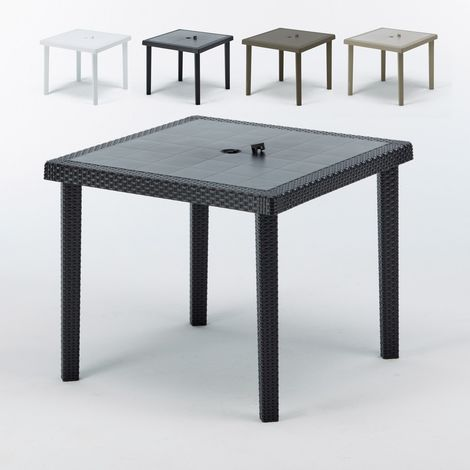 Set of 12 BOHEME Square Wicker Garden Tables For Restaurants And Bars 90x90cm