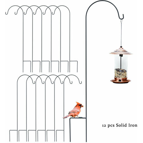 Set of 12 Metal Shepherd Crook Hook Bird Feeder Pole Garden Hanging Plants Basket Hanger