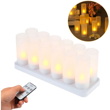 Set of 12 Rechargeable LED Yellow Flickering Flameless Tealight Candles Lights with Remote Control Frosted Cups Charging Base
