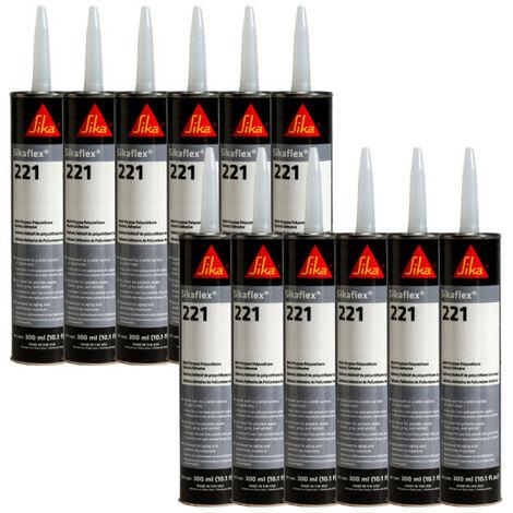 Set of 12 SIKA Sikaflex 221 Multi-Purpose Mastic Glue - Steel Grey - 300ml