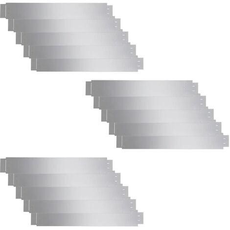 Set of 15 Flexible Lawn Fence Galvanised Steel 100 x 15 cm