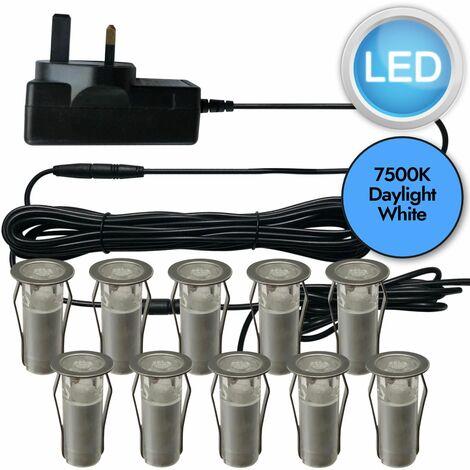 SET OF 15mm IP67 ROUND COOL WHITE LED DECKING / GROUND / PLINTH LIGHT KIT