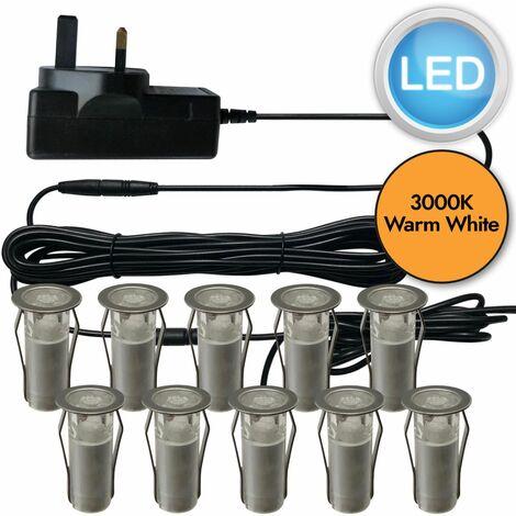 SET OF 15mm IP67 ROUND WARM WHITE LED DECKING / GROUND / PLINTH LIGHT KIT