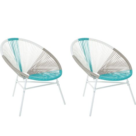 Set of 2 Accent Chairs Multicolour Blue ACAPULCO