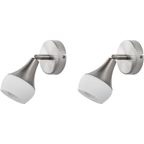 Set of 2 Adjustable Wall Lights White Glass Silver Metal Bell Shade Antler I