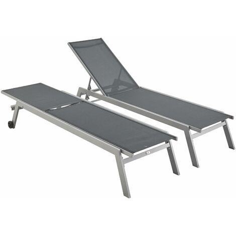 Set of 2 Aluminium & textilene sun loungers - Elsa