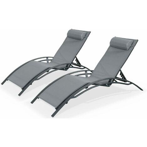 Set of 2 Aluminium & textilene sun loungers - Louisa
