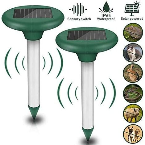 Set of 2 anti-mole solar repellents - Ultrasonic solar repellent - IP56 protection - For the garden.