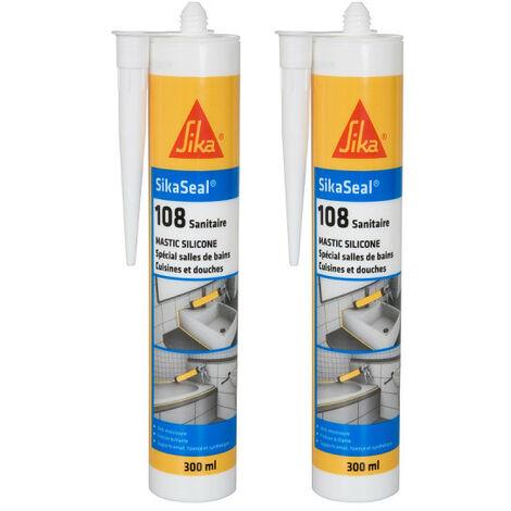 Set of 2 anti-mould silicone sealant SIKA Sikaseal 108 Sanitary - White - 300ml