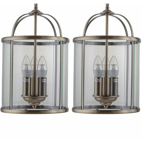 Set of 2 Antique Brass Lantern Pendants