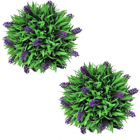 Set of 2 Artificial Boxwood Ball with Lavender 28 cm