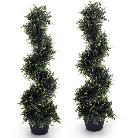 Set of 2 Artificial Cedar Spiral Topiary Tree Potted Plant