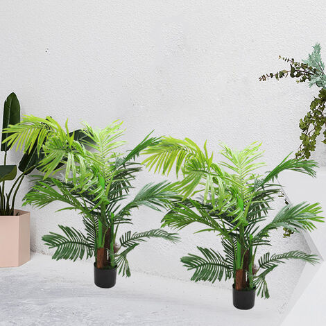 Set of 2 Artificial Palm Tree Hallway Potted Topiary Plant