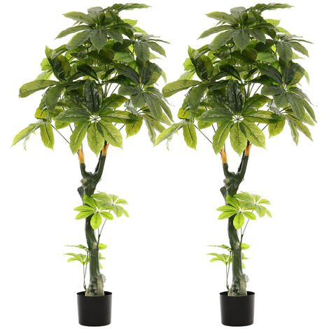 Set of 2 Artificial Potted Tree Green Leaf Realistic Plants, 160CM
