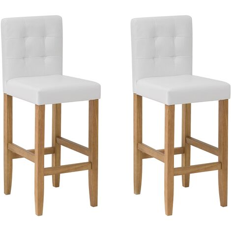 Set of 2 Bar Chairs Faux Leather Off-White MADISON