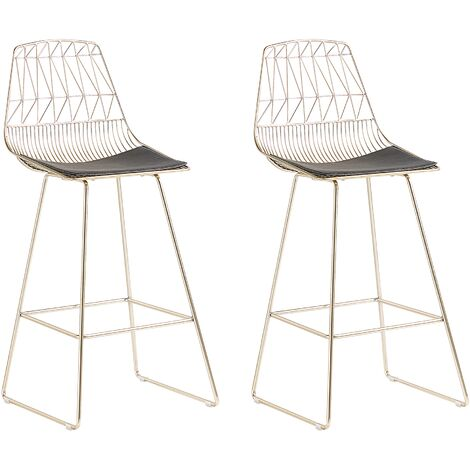 Set of 2 Bar Chairs Metal Gold PRESTON